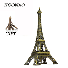 Bronze Tone Paris Eiffel Tower Decoration mini buildings Crafts Home Office Decor French Vintage Metal Crafts Model Gift Present