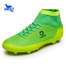 High Ankle Professional Mens AG Soccer Boots New Top Women Anti Shock Football Shoes Cheap FG Football Cleats Futsal Sneakers(China)