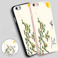 China style Red crowned Crane Soft TPU Silicone Phone Case Cover for iPhone 4 4S 5C 5 SE 5S 6 6S 7 Plus