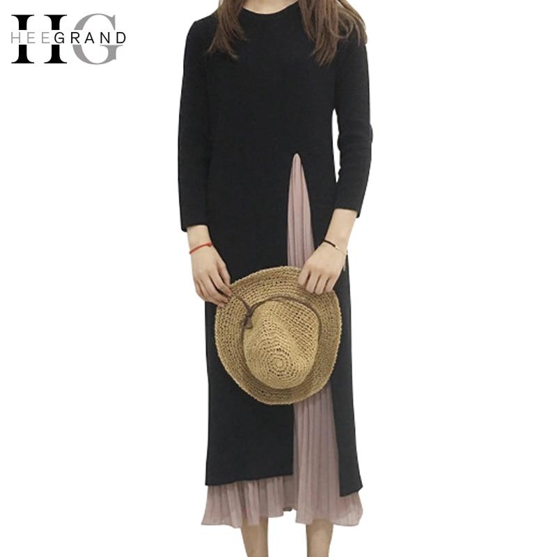 HEE GRAND 2018 Women Long Dress Knitted Sweater Dresses Long-sleeved Fake Two Piece Vintage Elegant Slim Yarn One-piece WQL5690Îäåæäà è àêñåññóàðû<br><br>