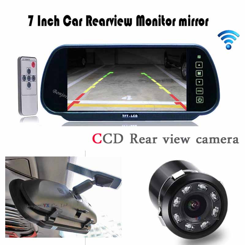 Car Rear view camera HD 7 Monitor Mirror Video 8 Ir Lights Night Vision Backup reversing cam 18.5mm detector Parking  -  Bonjour-YX Store store