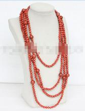 "FREE SHIPPING>>>  Genuine length 100"" natural round red sponge coral necklace"