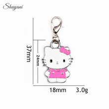 37*18mm Alloy 5Colors Enamel Charms Pendant for Oil Drop Cat Hello kitty Charms with Lobster Clasp Pendant DIY Jewelry Findings