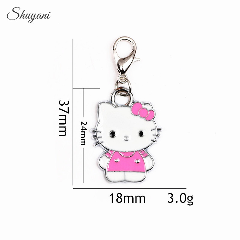 37*18mm Alloy 5Colors Enamel Charms Pendant for Oil Drop Cat Hello kitty Charms with Lobster Clasp Pendant DIY Jewelry Findings(China)