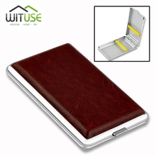 WITUSE PU Cigarette Case Box Can Hold 10 12 14 16 18 20PCS Retail New 2017 Classic Leather Alloy Metal Holder Cigars EG5798(China)