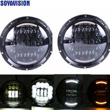 Black 7 inch 90W LED Headlight Fog Lamp DRL For Jeep Wrangler JK CJ TJ Hummer H1 H2 Car Led Headlamp For Kenworth T2000 T-2000(China)