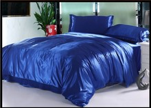 Royal Blue Natural Silk Bedding set Luxury Cal king size queen full twin duvet cover quilt fitted bed in a bag sheet quilt satin