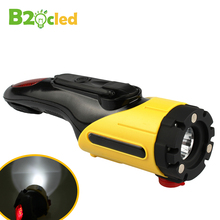 LED flashlight  Outdoor multifunctional Vehicle mounted safety LED torch hammer warning lights USB charger hand power generation