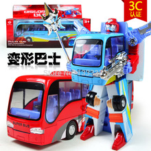 Hot Sell Children Toys Alloy Transformation Robot Toy School Bus Action Finger  Toy blue and red color in box
