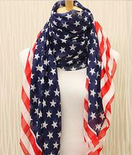 Drop Shipping Hot Sale Beauty Chiffon Printing American Flag Scarf Wraps Fashion Accessories