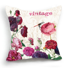 pink flower priting cushion cover rose pattern pillow case Azalea throw pillow cover 45*45 cm bedroom sofa decoration