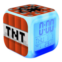 Hot Sale Touch light Minecraft Kids Digital Alarm Clock with LED Colorful glowing cartoon game action toy figures(China)