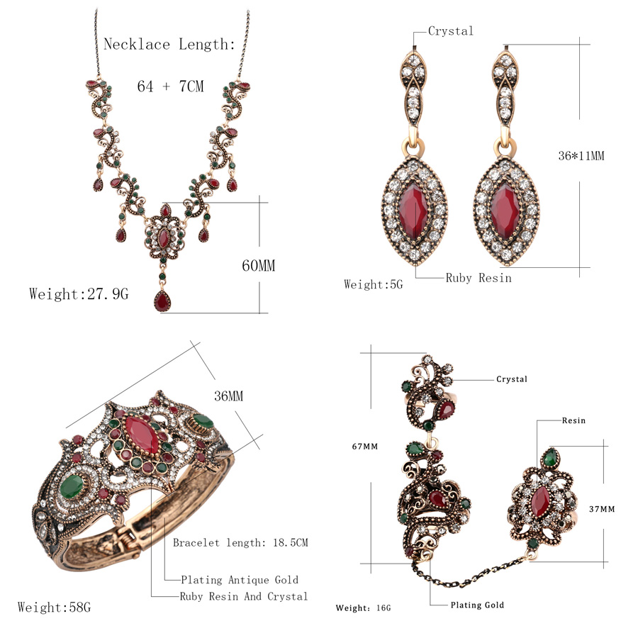 Luxus-4-St-cke-T-rkei-Schmuck-Sets-Vintage-Look-Rot-Halskette-Ohrringe-Set-Farbe-Antique