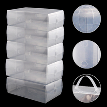 PHFU 5 x Clear Plastic Mens Shoe Storage Boxes Containers Size 8 9 10 11