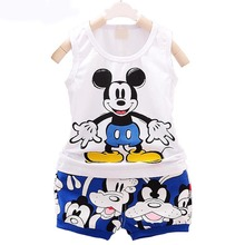 Kids Baby Boy Girls Sleeveless Tops + Shorts Outfits 2pcs Children Clothing Set Cartoon Rabbit Minnie Print Summer Sport Wear