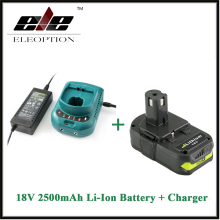 Eleoption Rechargeable Battery For Ryobi RB18L25 18V 2500mAh Li-Ion P103 P104 P105 P108 + Charger