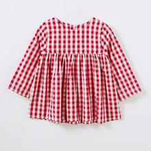 12M-4T long sleeve red print dresses for girls Toddler Kids Children Baby little Girls Shirt Lattice Spring Dress Outfits(China)