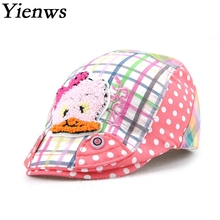 Yienws Fashion Plaid Flat Cap Baret Girl Cotton Cartoon Kawaii Boina Kids Summer Casual Pink Beret Hat YH010