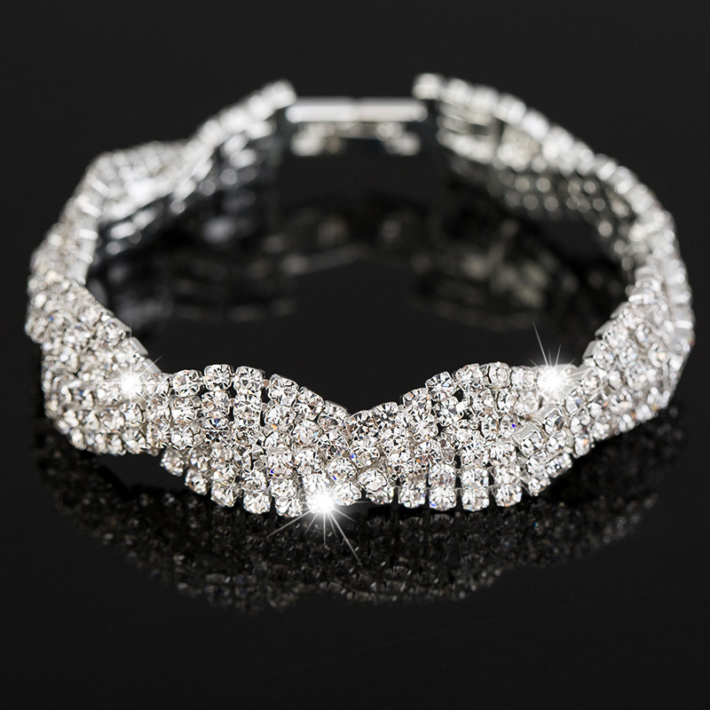 Luxury Twist Crystal Bracelets Women Wedding Jewelry Wide Wave Design Hand Chain Female Bracelet Femme Bridal Accessories(China (Mainland))