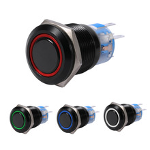 19mm 12V LED ON/OFF Black Waterproof Self-locking Latch Push Button Flate Switch LED Button Switch Self-locking Switch