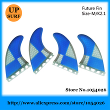 prancha quilhas de Honeycomb Surfboard Fins Blue Future Fins M Size Quad Fins Free Shipping(China)