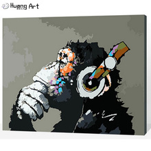 New Design Number Painting DIY Number Orangutans Oil Painting on Canvas Modern Digital Monkey Oil Painting as Unique Gift(China)