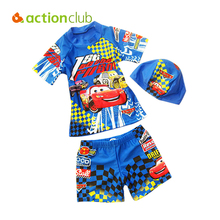 Actionclub Cartoon Car Children Boys Swim Wear 2016 Baby Kids Swimsuits Beach Two Pieces With Swimming Hat Bathing Suit SA110