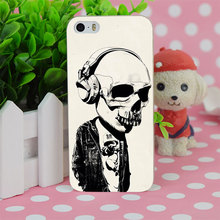 B1085 Earphone Skull Transparent Hard Thin Case Cover For Apple iPhone 4 4S 5 5S SE 5C 6 6S 6Plus 6s Plus