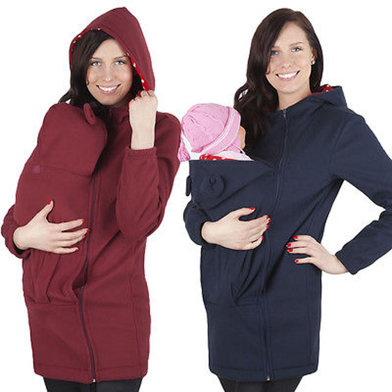 Fashion 2017 Winter Autumn Baby Carrier Jacket Kangaroo Warm Maternity Hoodies Outerwear Coat Maternity Clothes Plus Size M-3XL<br>