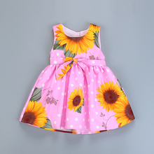 Girls Summer Dress Princess Party Sleeveless Vest Dress On A Girl Fashion Children `s dress Sunflower Printed Kids Costume 2-8 y