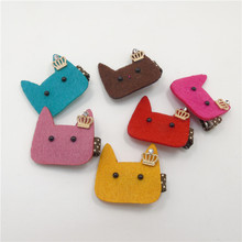 Felt Cartoon Kitty Hair Clip Red Blue Yellow Pink Cat Head Hairpin Crystal Crown Cute Polka Dot Party Favor Barrette 12pcs/lot