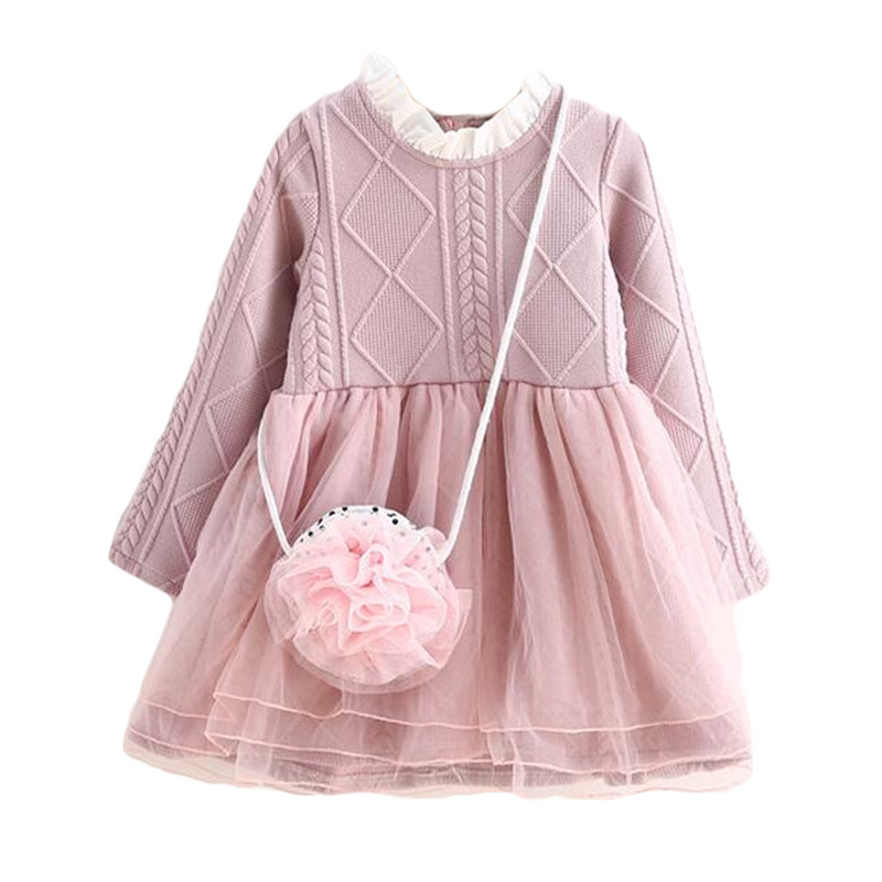 2017 New Kids Tutu Dresses Girl Spring AutumnLong-Sleeve Princess Dresses laceToddler Clothing knitted New Year Custumes pink<br><br>Aliexpress