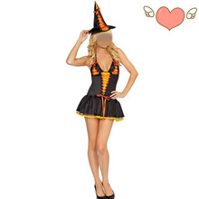 Free Shipping new adult women Short Style Witch Halloween Costumes orange costume black witch cosplay costume sexy dress