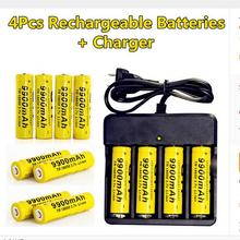Liitokaia 4 pcs/set Rechargeable 18650 Battery 3.7V Li-ion9900mAh Battery With Charging Dock For Flashlight Batery Litio Battery