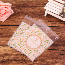 100 pcs/lot Pink rose flower adhesive bag cookies diy Gift Bags for Christmas Party Candy Food&Handmade soap Packaging bags