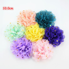 32pcs/lot Newest 10.0cm Large Gold Polka Dotted Fabric Chiffon Flower Flat Back Headband Floral Hair Embellishment H0251