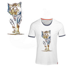 2017 new Pop wolf pattern stickers patches 26*13.5cm T-shirt Dresses Sweater Washable thermal transfer Printed iron on patch(China)