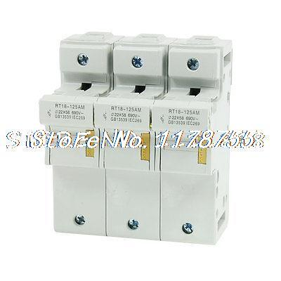 RT18-125AM AC 690V 3 Poles 35mm DIN Rail 22x58mm Fuse Holder Base<br><br>Aliexpress