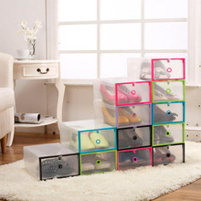 Plastic Shoebox Multifunction Plastic Shoe Box Transparent Crystal Storage Shoebox Household DIY Clamshell Shoebox Storage Box(China)