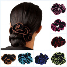 1pcs Women Ladies Gold Velvet Flower Hair Scrunchies Ponytail Holder Hair Ties Ropes Elastic Hair Bands Headwear(China)