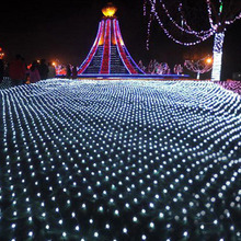 1.5m*1.5m Net Lights 96 LED Net Mesh Decorative Fairy Lights Twinkle Lighting Christmas Wedding Party EU 220v Free(China)