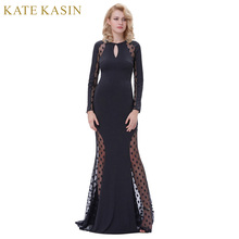 Buy Kate Kasin Women Dot Patchwork Long Dresses 2017 Vintage Keyhole Long Sleeve Sexy Dress Elastic Floor-Length Maxi Dress Vestidos for $25.65 in AliExpress store