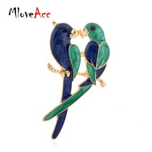 Vintage New Fashion Dual Bird Kiss Love Parrot Brooches Cute Animal Epoxy Alloy  Brooches & Pins For Women Gifts