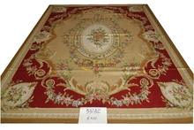531 camel 8x10 A+++ Design Beautiful Camel Red Rose French Country Aubusson Rug gc8aubyg13(China)