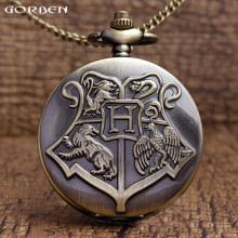 Retro Hogwarts School Bronze Pocket Watch Harry Potter Quartz Pocket Watches Men Women Gifts With Chain Necklace Children P305