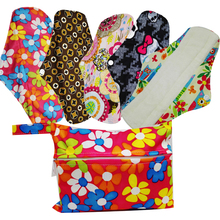 New Design Mama Cloth Menstrual Pads Washable Sanitary Napkins 5PCS With One Mini Wet Bag(China)
