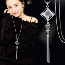China Knot Crystal Long Sweater Chain Square Pendant Necklace Vintage Fashion Tassel Necklace All-match Jewelry Accessories(China)