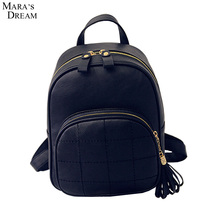 Mara's Dream Backpack Women Solid Candy Color Thread Zipper Tassel Double Metal Zippers High Quality PU Leather School Bags Girl
