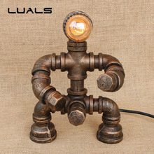 Loft Robot Model Deco mesa Table Lamp Edison industrial Water Pipes Retro Table Lamp Creative Cafe Bar Art Ambience Desk Lamp(China)