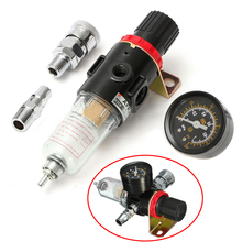 "New Air Compressor Oil Water Filter Regulator 1/4"" Pressure Gauge Moisture Trap Mayitr with Mount And Fittings"